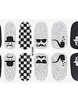 Fashion Beard Bow Style Glitter Silver and Black Nail Decal Art Sticker Gel Polish Manicure