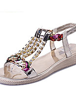 Women's Sandals Summer Comfort PU Casual Flat Heel Sparkling Glitter Silver / Gold Others