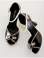 Women's Sandals Summer PU Outdoor Chunky Heel Crystal Bowknot Buckle Black Almond Others