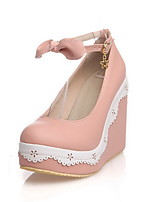 Women's Solid PU High-Heels Round Closed Toe Buckle Pumps-Shoes with Metal