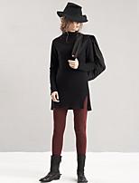 De las mujeres Pantalones Ajustado-Simple Microelástico-Algodón / Poliéster