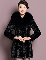 Women's Casual/Daily Street chic Fur Coat,Solid Round Neck Long Sleeve Winter Black Faux Fur Thick