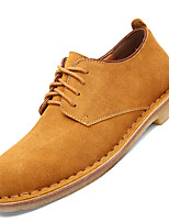 Men's Oxfords Comfort Leather / Suede Casual Flat Heel Lace-up Brown / Yellow / Gray / Khaki Others