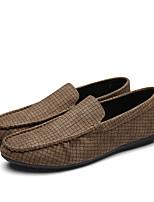 Черный / Синий / Хаки-Мужской-На каждый день-Дерматин-На плоской подошве-Удобная обувь / С круглым носком / С закрытым носком-На плокой
