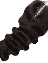18Inch Handtied Natural Wave Lace Closure Unprocessed Hair Remy Human Hair 4*4Swiss Lace
