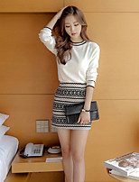 Boutique S Going out Street chic Summer T-shirt SkirtSolid Round Neck Long Sleeve White Cotton / Polyester Medium
