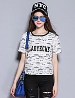 SYBEL Women's Casual/Daily Simple T-shirtLetter Round Neck Short Sleeve White Polyester Medium