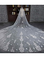 Wedding Veil One-tier Cathedral Veils Cut Edge Tulle / Lace Ivory