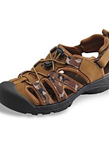 Men's Sandals Summer Sandals Leather Casual Flat Heel Others Black / Brown / Khaki Others