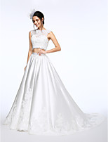 Lanting Bride® Ball Gown Wedding Dress Chapel Train High Neck Lace / Satin with Appliques / Beading / Button