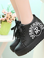 Women's Sneakers Spring Fall Leatherette Casual Platform Creepers Lace-up Black White Other