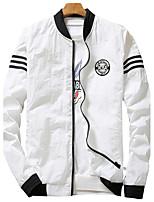 Мужской Полиэстер Куртка На каждый день / Для занятий спортом,Однотонный,Длинный рукав,Черный / Синий / Красный / Белый