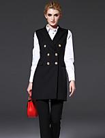 FRMZ  Women's Work Simple Spring BlazerSolid Notch Lapel Sleeveless Black Polyester Medium