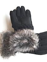 Unisex Polyester Fingertips Wrist Length,Solid Vintage Winter
