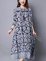 Women's Plus Size / Casual Vintage Ethnic Print Loose DressPaisley Midi Long Sleeve Blue Cotton / Linen Spring /Fall