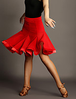 Latin Dance Tutus & Skirts Women's Performance Chinlon / Tulle Draped 1 Piece Black / Red