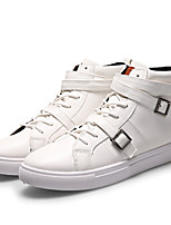 Men's Flats Fall / Winter Comfort / Round Toe / Closed Toe  Casual Flat Heel Buckle / Lace-up Black / White Walking