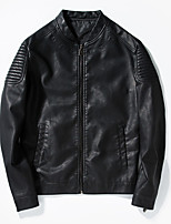 Men's Long Sleeve Casual / Sport JacketCotton / Polyester Solid Black