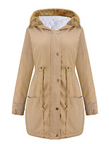 Women's Long Padded Coat Street chic Fur Trim Thick Warm Casual/Daily Solid  Long Sleeve Hooded
