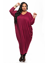Women's Plus Size / Casual/Daily Vintage Loose DressSolid V Neck Midi Long Sleeve Red / Black Polyester All Seasons