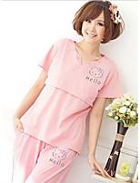 Daily Cute Spring / Summer T-shirt PantPrint Round Neck Short Sleeve Pink / Gray Cotton Medium