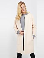 c + impressionar trabalho das mulheres simples em torno do pescoço de inverno coatsolid manga longa lã bege / poliéster de espessura