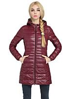 Women's Plu Size Solid Straight  Coat Simple Hooded Long Sleeve