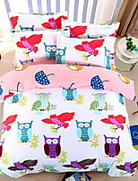 Bedtoppings Comforter Duvet Quilt Cover 4pcs Set Queen Size Flat Sheet Pillowcase Colorful Owl Prints Microfiber