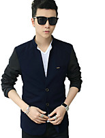 Men's Long Sleeve Casual / Plus Size JacketCotton / Polyester Solid Black / Blue