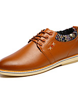 Men's Oxfords Spring / Fall Comfort / Round Toe PU Casual Low Heel Others / Lace-up Black / Brown Walking