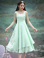 Our Story Women's Going out Vintage Sheath DressEmbroidered Strap Midi Sleeveless Green Polyester Summer Mid Rise