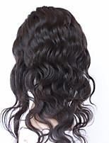 8''-20'' Noir 360 frontal Ondulation naturelle Cheveux humains Fermeture Brun roux Dentelle Suisse 100g gramme Moyenne Cap Taille