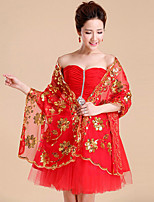 Women's Wrap Shawls Sleeveless Sequined / Rayon White / Red Wedding / Party/Evening Shawl Collar