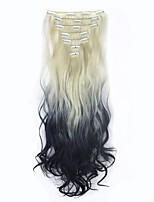 130g Ombre Hair Curly wavy Extensions Colorful Hair Clip Hair Extensions Clip on Hairpieces Synthetic Hair Extensions