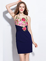 Boutique S  Women's Plus Size Sophisticated Sheath DressEmbroidered Round Neck Sleeveless  Mid Rise