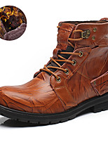 Men's Boots Fashion Boots / Comfort Cowhide / Leather Casual Flat Heel Lace-up Black / Brown / Coffee