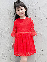 Girl's Casual/Daily Solid DressPolyester Spring / Fall Red / White