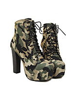 Women's Heels Spring Fall Canvas Dress Casual Cone Heel Split Joint Dark Green Others