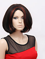 Black Red Ombre Color Short Straight Wigs Capless Synthetic Wigs For Women