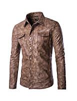 Men's Long Sleeve Casual JacketPU Solid Black / Brown