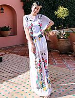 Courte Robe Femme Sortie / Vacances Vintage,Imprimé Col Arrondi Maxi ½ Manches Blanc Rayonne Eté Taille Normale Non Elastique Fin