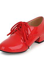 נשים-נעלי אוקספורד-דמוי עור-נוחות-שחור / אדום / לבן / Almond-שמלה / קז'ואל-עקב נמוך