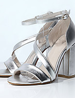 Women's Sandals Summer Heels / Sandals PU Office & Career / Dress / Casual Chunky Heel Buckle Black / Silver Others