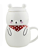 1PC Novelty Gift Cover Band Ceramic Cup Cartoon Cup Couples Cup(Pattern is  Random)