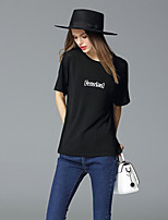 FRMZ  Going out Simple Summer T-shirtLetter Round Neck Short Sleeve Black Linen Medium