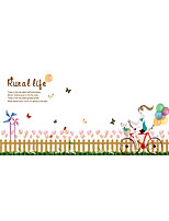 Wall Stickers Wall Decals Style Fence Tulips PVC Wall Stickers