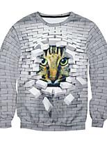 Men's Print Casual / Work SweatshirtCotton Long Sleeve White