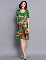 Women's Casual/Daily Chinoiserie Loose Dress,Print Round Neck Knee-length Short Sleeve Red / Green Rayon Summer