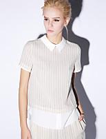 Newbefore  Women's Going out Simple Summer BlouseStriped Shirt Collar Short Sleeve Blue / Brown