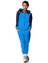 Set Pantalon Costumes Femme,Couleur Pleine Sportif Actif Toutes les Saisons Manches Longues Capuche Bleu Polyester Moyen